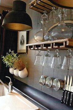 Great design for open shelving in a kitchen.