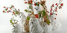 Poland-based designers Diploo Studio, have created 'Singing Brownies', a trio of small ceramic vases that are the good ghosts of the woods.
