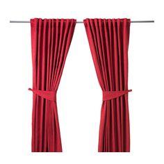 IKEA - BLEKVIVA, Rideaux+embrasses, 2 panneaux, , Faits d'un textile au tissage serré, les rideaux assombrissent la pièce et protègent l'intimité.Le tissage Jacquard offre au rideau un beau relief discret.S'accroche à une tringle à rideaux ou à une tringle-rail.Le ruban du bord supérieur vous permet de froncer facilement le rideau suspendu à l'aide des crochets RIKTIG.À suspendre à une tringle par les passants dissimulés ou à l'aide d'anneaux et de crochets.