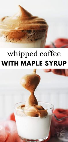 This amazing whipped coffee recipe also known as Dalgona coffee is so good! No wonder it& a hit all over the place. Made with instant coffee, boiled water, and maple syrup in this recipe. Homemade Maple Syrup, Maple Syrup Recipes, Nespresso Recipes, Smoothie Recipes, Juice Recipes, Drink Recipes, Smoothies, Latte Recipe, Coffee Recipes