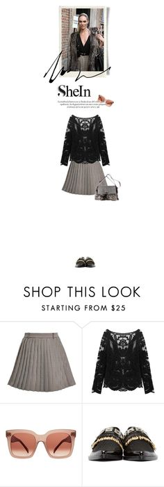 """""""SHEIN CONTEST-Lace Blouse"""" by cultofsharon ❤ liked on Polyvore featuring Thom Browne, CÉLINE, Toga and Michael Kors"""