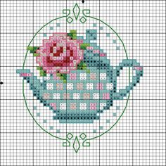 pretty teapot, with matching teacup. Cross Stitch Kitchen, Mini Cross Stitch, Cross Stitch Cards, Cross Stitch Flowers, Cross Stitching, Cross Stitch Embroidery, Embroidery Patterns, Hand Embroidery, Cross Stitch Designs