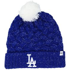47 Brand Women s Los Angeles Dodgers Fiona Pom Knit Hat ( 28) ❤ liked a94435b08fc6