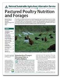 "ATTRA's new publication ""Pastured Poultry Nutrition and Forages"" explores the important role that forages play in pastured poultry production for either meat or egg production. #ATTRA #NCAT #pasturedpoultry"