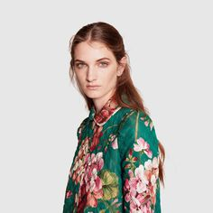 Blooms print cotton-nylon coat