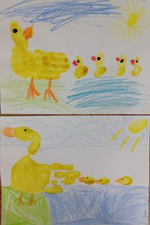 Great activities to go along with Make Way for Ducklings including this art project and a free printable word family game.  Cute!!!
