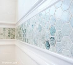 white subway tile with hex marble accent. Street Design School: Utah Valley Parade of Homes - A Feast for the Eyes Bathroom Border Tiles, Hexagon Tile Backsplash, Backsplash Ideas, Tile Ideas, Shower Accent Tile, Shower Backsplash, Backsplash Wallpaper, Rustic Backsplash, Hex Tile