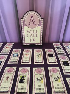 Ticket place cards with mini Will Call Signs