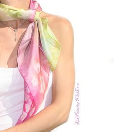 Hand painted silk scarf. Valentine Gift. by SilkPaintingWithLove
