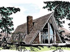 Home Plan HOMEPW15055 is a gorgeous 1742 sq ft, 2 story, 3 bedroom, 2 bathroom plan influenced by + A-Frame  style architecture.