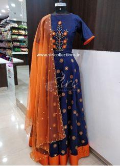 fe335e0de4b14 Designer Navy Blue Orange Mirror Work Raw Silk Lehenga Lehenga Crop Top