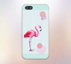 Pink Flamingo x Teal x White Stripes Case for iPhone and Samsung.    Available for iPhone 6, iPhone 6 Plus, iPhone 5, iPhone 5S, iPhone 4, iPhone 4S,