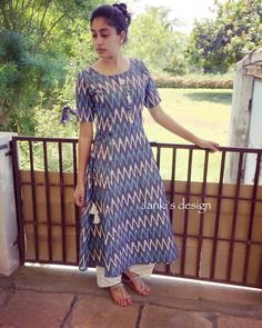 Best 12 Very elegantly designed indigo ikat kurti. Salwar Neck Designs, New Kurti Designs, Churidar Designs, Kurta Neck Design, Kurta Designs Women, Kurti Designs Party Wear, Kalamkari Dresses, Ikkat Dresses, Dresses Dresses