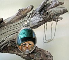 Cat with a green hat steampunk style glass cab by ArtiFartiGifts