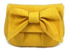 Yellow Handmade Bow Clutch Purse, Handbag Ecofriendly