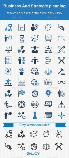 This set contain 45 business and Strategy Planning icons great for presentations, web design, web apps, mobile applications or any