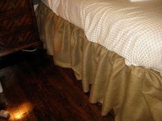 a walk through: No-Sew Burlap Bedskirt