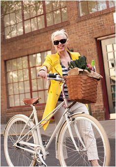 Great bike, basket, jacket, outfit, hair and get out of here...kale and wine?!  We need to hang out!