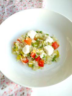 Een lekkere en gezonde en vooral makkelijke maaltijd is risotto, ik maakte een zomerse variant met feta kaas.
