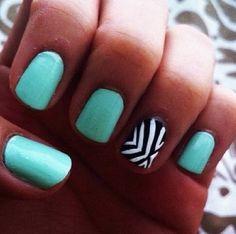 Teal nails and zebra stripes. Cute!