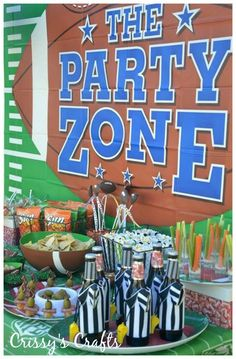 Fun football party ideas, including these referee beer bottles! See more party ideas at CatchMyParty.com. #football #partyideas