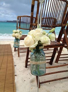 vintage blue mason jars can be used for both ceremony and centerpieces