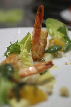 Gamba, asparagus, lavender
