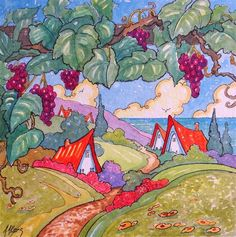 """Daily Paintworks - """"Wine Country by the Sea Storybook Cottage Series"""" - Original Fine Art for Sale - © Alida Akers"""
