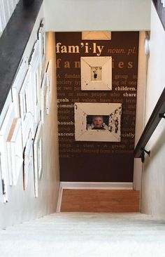 Photo Wall. Put photos on the wall down and at the end of the steps or at the top of stairs. http://hative.com/basement-wall-ideas/
