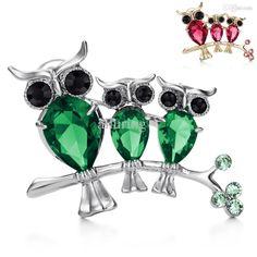 Wholesale Neoglory Schmucksachen Österreich Strass Cz Zirkon Owl Designer Style Pin Up Brosche Für