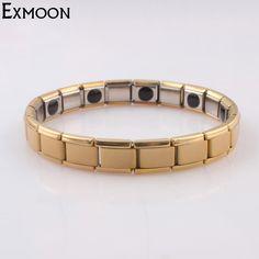 >> Click to Buy << EX-MOON Mens Gold-Color Stainless Steel Hologram Bracelet Male Magnet Germanium Health Wrap Bracelet Bangle Jewelry Pulseras #Affiliate