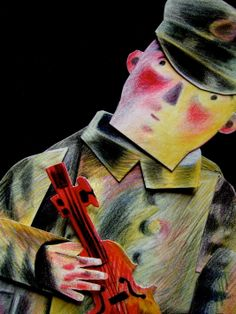 """""""Joseph and his Violin"""" by Clive Hicks-Jenkins from his animation of Stravinsky's """"The Soldier's Tale"""", 2013 Project Ideas, Art Projects, Green Knight, Violin, Printmaking, Joseph, Fairy Tales, British, Animation"""