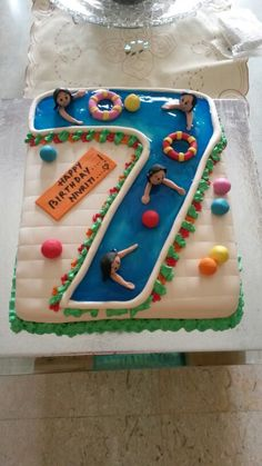 Number 7 swimming pool cake