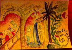 essai de carte de voeux inspiration Benjamin Chaud (c) AP/2016 Aquarelle et crayons