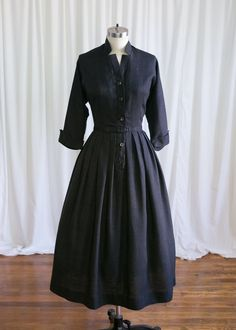 6fcdf21613 Culloden dress vintage 50s dress charcoal wool 1950s dress