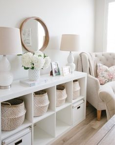 While it may only be temporary, I shopped the house and turned our guest room into my full-time office this summer. Sharing all of the details and sources. Room Decor Bedroom, Living Room Decor, Home Room Design, House Design, White Shelving Unit, A Thoughtful Place, New Room, Decoration, Room Inspiration