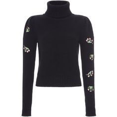 Blugirl Embellished Sleeve Turtleneck (36.890 RUB) ❤ liked on Polyvore featuring tops, sweaters, turtleneck top, floral tops, turtle neck top, polo neck sweater and pullover sweaters