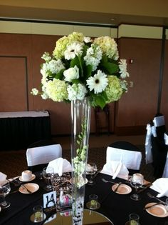 Reception flowers we did at Sand Creek Country Club. Gerber Daisies, Hydrangea, Roses, Stock & Orchids  5424 N Johnson Road Michigan City, IN 46360