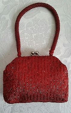 GORGEOUS La Regale Fully BEADED Handmade EVENING HANDBAG Ruby Red Glass Beads