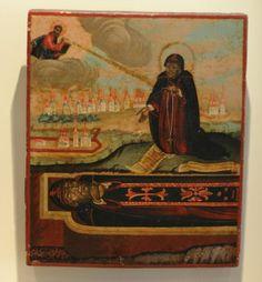 Der heilige Theodosius geb. um 424 in Kappadokien. Er zog 450 nach Jerusalem, wo er um 460 7km südöstlich von Jerusalem das noch heute nach ihm benannte Kloster gründete. Er starb am 11.Januar 529. Er wurde in einer großen Höhle neben dem Kloster beigesetzt, wo er schon vorher als Eremit lebte.      Maße: 30cm x 25cm (H x B)     Technik: Tempera auf Holz, Silberblech     Alter: 1796     Provinienz: Russland