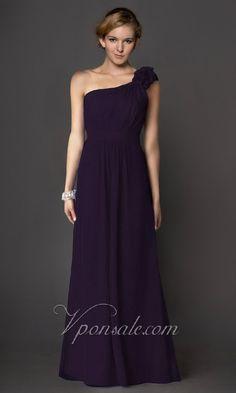 One Shoulder Empire Waist Long Dress VPS0015 [VPS0015] - $122.34 : $70-$90|cheap bridesmaid dresses|free shipping-V.P