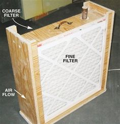 Low-Tech Air Scrubber Turn an old box fan into an air scrubber by encasing it in a box with a pair of 20-in. by 20-in. furnace filters:  an inexpensive filter on the infeed side removes large particles and fits loosely in its slot but the airflow draws it tight against the fan; a 3M micro-allergen filter captures tiny particles on the outfeed side. This filter fits its slot snugly, so dusty air can't escape.