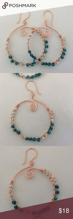 "HOST PICK 💜 Copper and Teal Green Hoop Earrings These lovely hoops are made with copper wire and glass beads in teal green and clear glass. They are beautiful on and measure 2"" in length. Becky Barnes Designs Jewelry Earrings"
