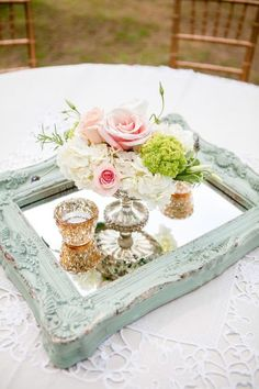 mint and pink vintage wedding centerpieces Vintage Wedding Ideas Vintage Wedding Style Vintage Wedding Inspiration Vintage Wedding Decor Vintage Wedding Styling Vintage Wedding Theme ceremony reception Romantic Wedding Centerpieces, Wedding Table Centerpieces, Romantic Weddings, Centerpiece Ideas, Vintage Centerpieces, Mirror Centerpiece, Shabby Chic Wedding Decor, Antique Wedding Decorations, Mirror Decorations