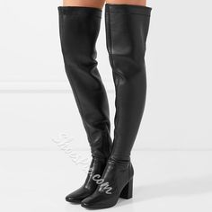 Shoespie - Shoespie Shoespie Awesome Plain Black Over the Knee Boots - AdoreWe.com