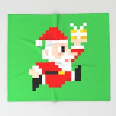 8-bit Christmas: Santa Claus Throw Blanket. Because Santa beats Mario's High Score every year! (8bit art, graphics, pixels, retro gamer, video games, lol, funny, xmas, vintage, gift ideas)