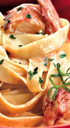 Lobster Pasta with Herbed Cream Sauce If available, add the lobsters' coral pink roe to the sauce — it makes this dish even more luxurious. - Lobster Pasta with Herbed Cream Sauce Lobster Dishes, Lobster Recipes, Fish Recipes, Seafood Recipes, Mexican Food Recipes, Gourmet Recipes, Italian Recipes, Pasta Recipes, Appetizer Recipes