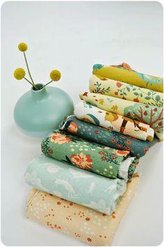 Teagan White for Birch Organic Fabrics, Acorn Trail, KNIT, Birds and Branches Cream