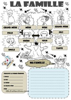 LA FAMILLE French Language Lessons, French Language Learning, French Lessons, French Flashcards, French Worksheets, French Teaching Resources, Teaching French, How To Speak French, Learn French