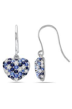 Blue Sapphire Heart Earrings In Silver